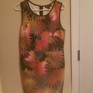 Multi colored feather bodycon dress